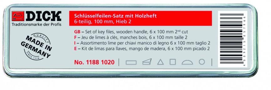 Schlüsselfeilensatz 6 Formen mit Holzheft in Weißblechdose