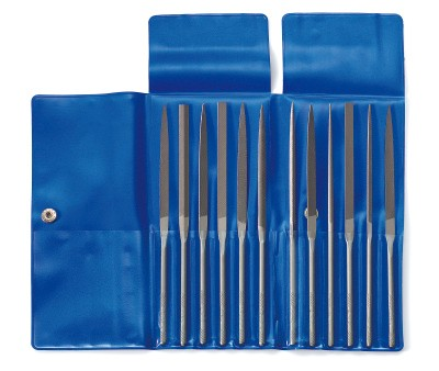 Sets of needle files in wallet, 12 pieces