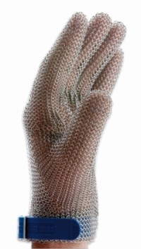 Protective glove ErgoProtect, stainless steel rings, for leftand right-handed users, detectable